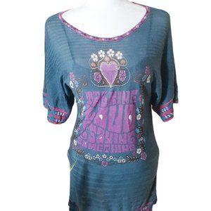 Women's vintage 60's stretchy blue mini dress